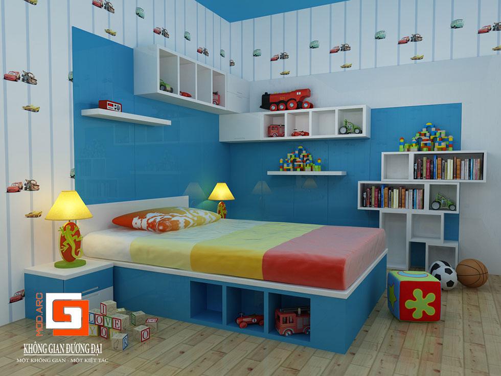 Kiến trúc nội thất phòng ngủ con trai