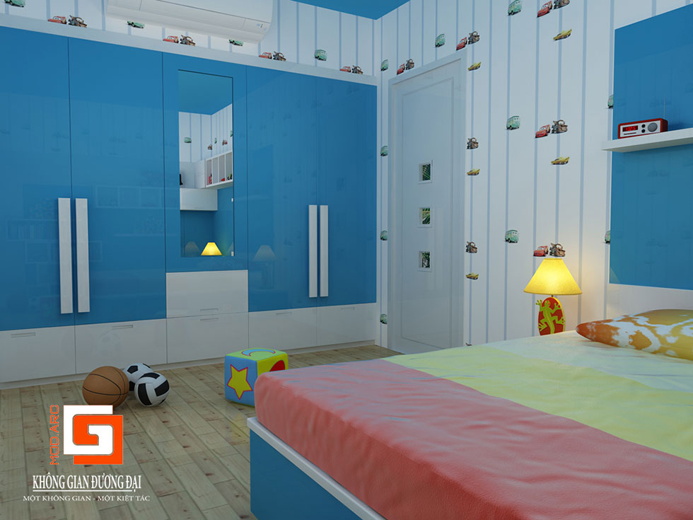 Kiến trúc nội thất phòng ngủ con trai 2